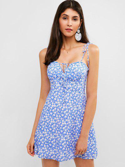 a4da379bb1af6 ZAFUL Tie Shoulder Floral Cami Summer Dress - Sky Blue - Sky Blue L ...