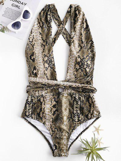 92da563f0e4f4 ... ZAFUL Snakeskin Cross Tie Convertible One-piece Swimsuit - Wood M