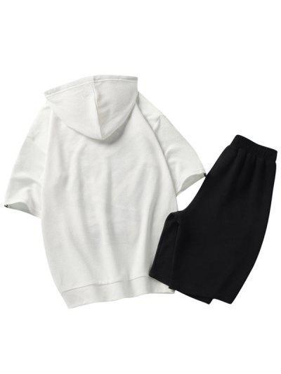 efc9e02e8a8c ... Carta De Impresión Gráfico Con Capucha Camiseta Pantalones Cortos Trajes  - Blanco L