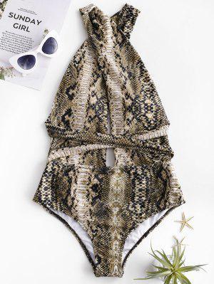 ZAFUL Snakeskin Cross Tie Convertible One-piece Swimsuit - Wood M
