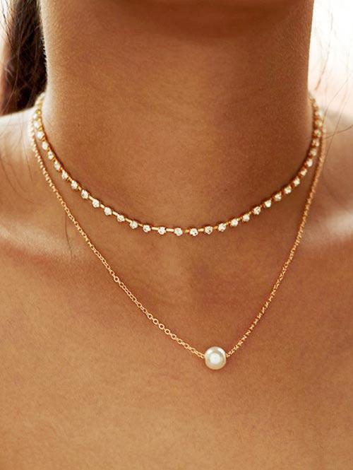 Alloy Faux Pearl Rhinestone Double Layered Necklace, Gold
