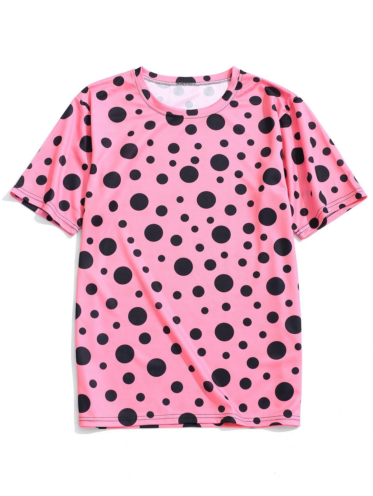 Polka Dots Print Short Sleeves T-shirt, Pig pink