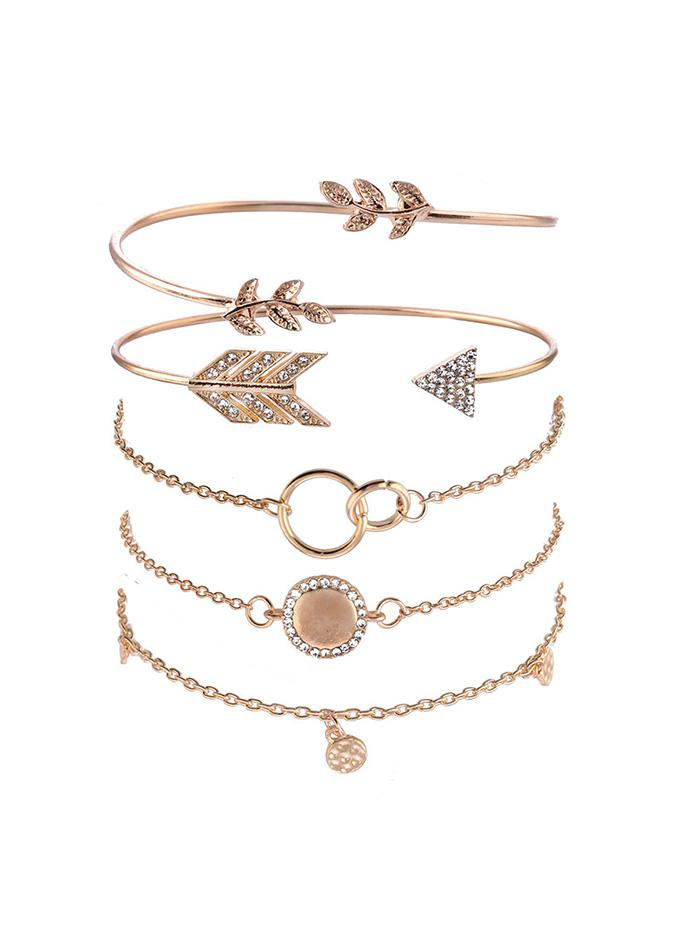 5Pcs Arrow Leaf Round Bracelet Set