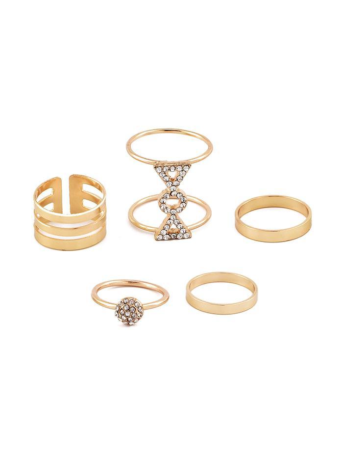 5Pcs Bowknot Rhinestone Ring Set