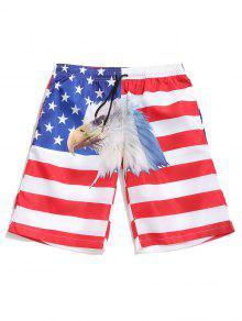 العلم الأميركي النسر طباعة الرباط مجلس السراويل - أبيض L