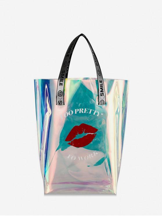 online Lip Print Large Capacity Handbag - MULTI