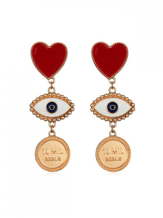 trendy Love Heart Round Eye Drop Earrings - GOLD
