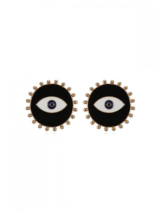 Boucles d'Oreilles Rondes en Forme d'œil - Noir