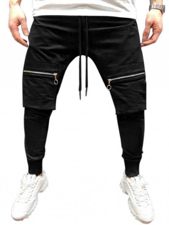 online Solid Color Zipper Pocket Hip-hop Jogger Pants - BLACK 3XL