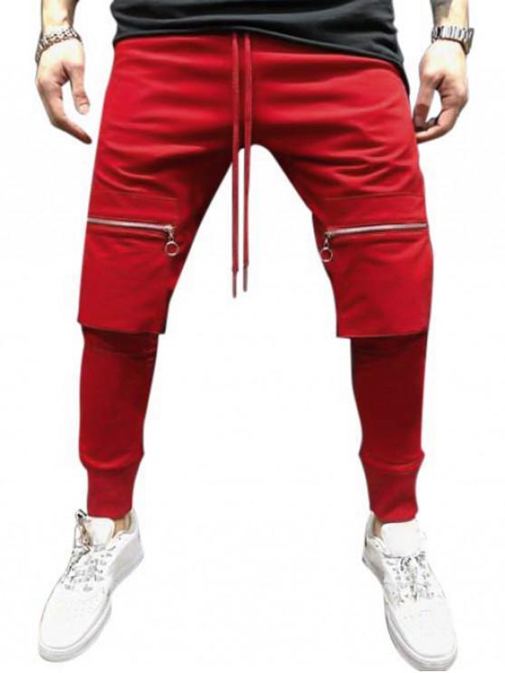 Einfarbige Reißverschlusstasche Hip-Hop- Jogger -Hose - Rubin Rot L