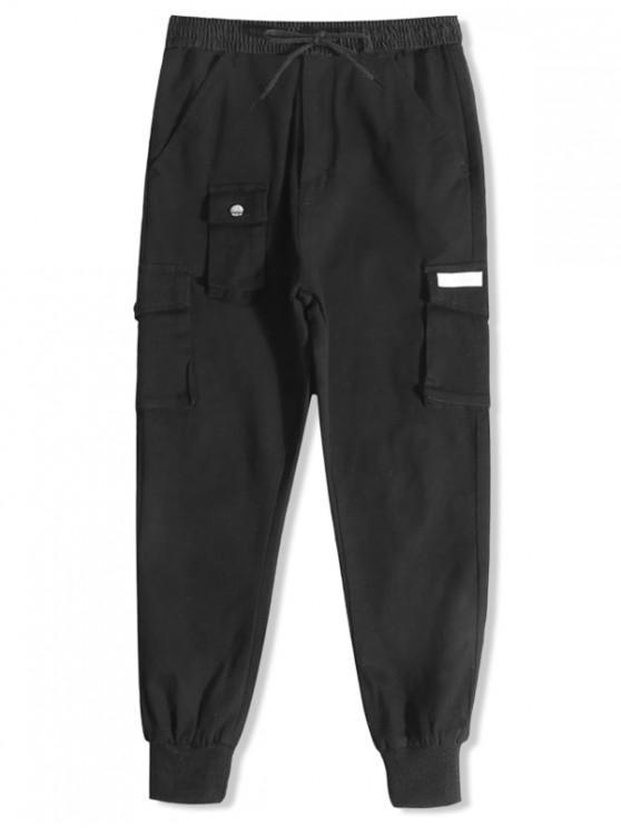 fancy Solid Color Casual Sport Jogger Pants - BLACK XS