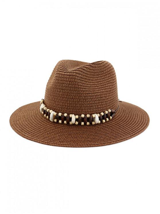 womens Straw Natural Beads Decorated Beach Sun Hat - COFFEE