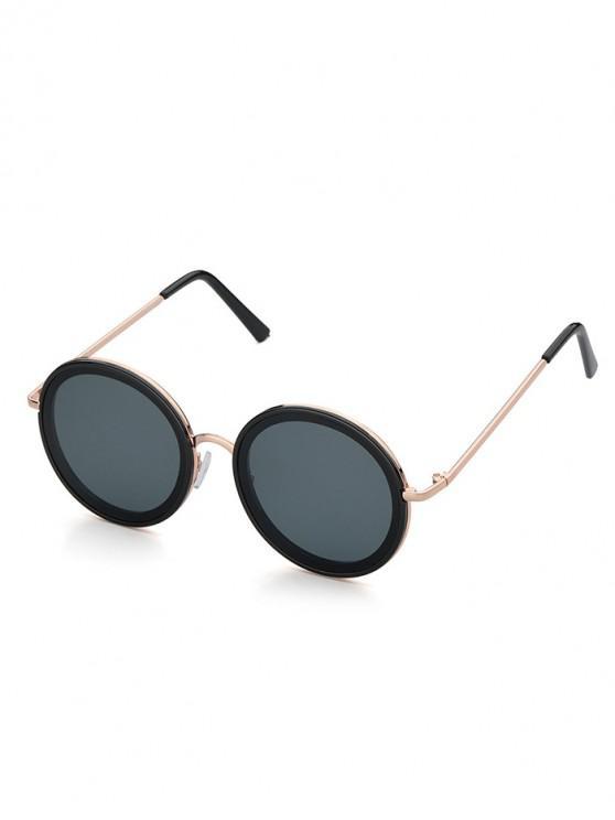 ladies Polarized Retro Style Round Metal Frame Sunglasses - GRAY