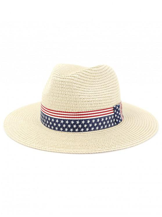 shops Straw Flag Pattern Beach Cowboy Hat - BEIGE