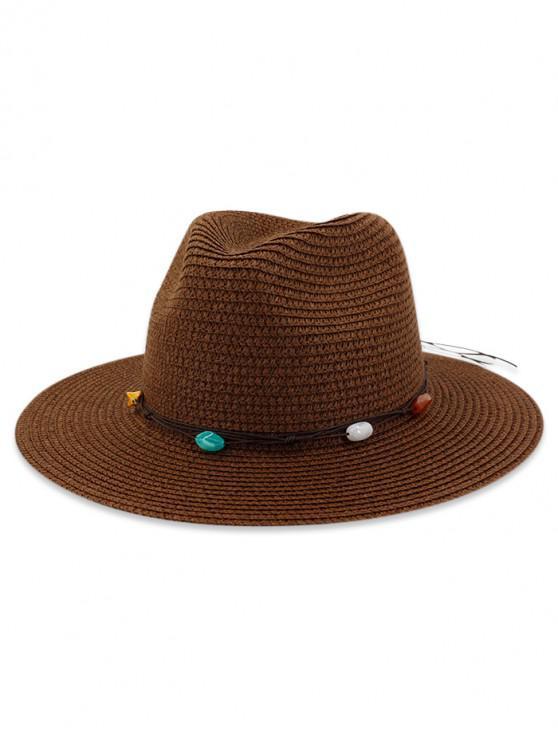 Palha pedra natural decorado chapéu de sol - Café