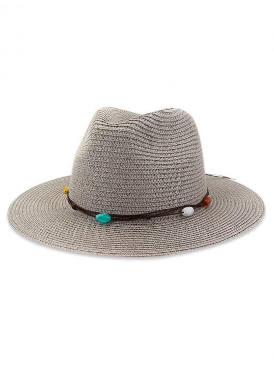 Palha pedra natural decorado chapéu de sol - Cinza
