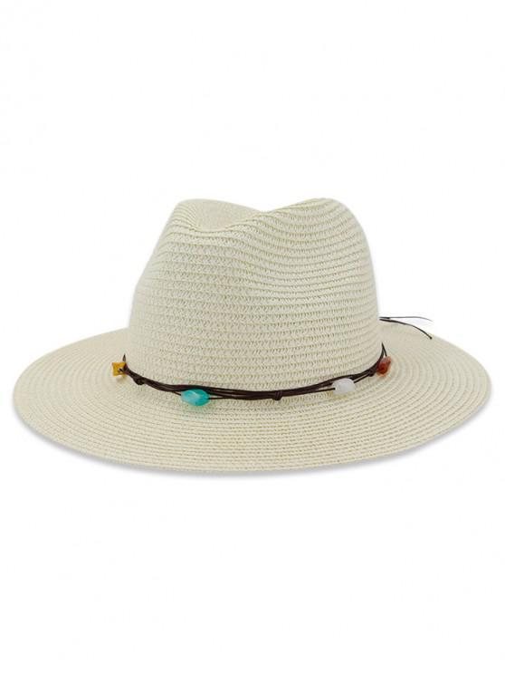 Palha pedra natural decorado chapéu de sol - Leite Branco