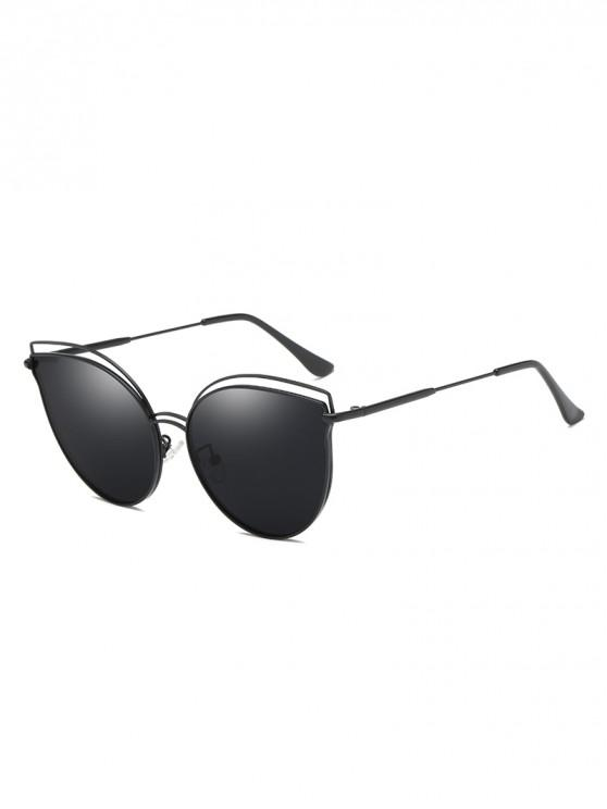 latest Catty Eye Polarized Hollow Sunglasses - BLACK