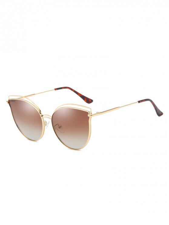 sale Catty Eye Polarized Hollow Sunglasses - CAMEL BROWN