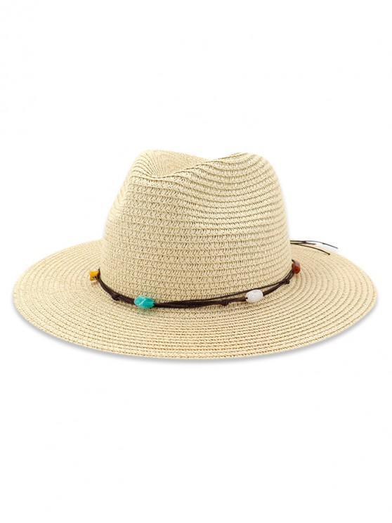 Chapeau de Soleil Décoré de Pierre Naturelle en Paille - Beige