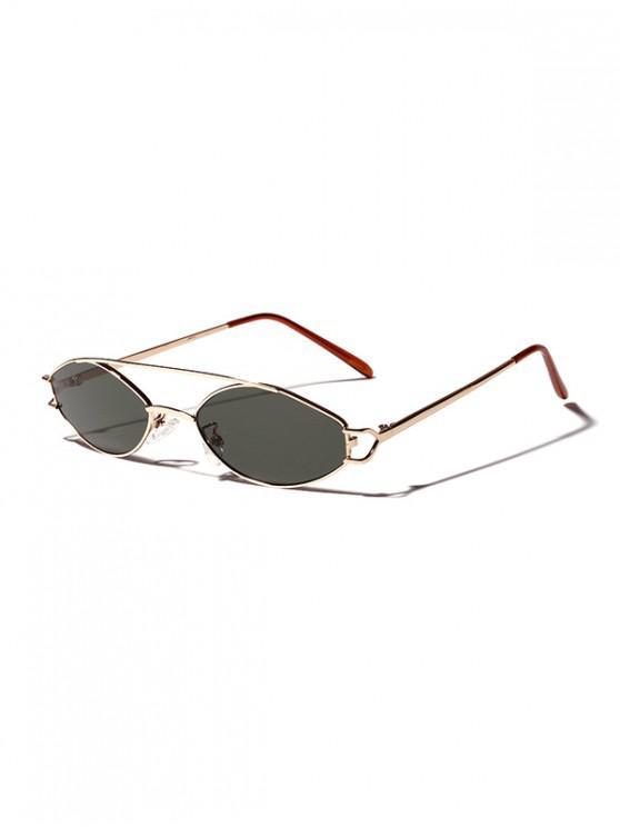 new Irregular Narrow Bar Retro Sunglasses - DARK GREEN