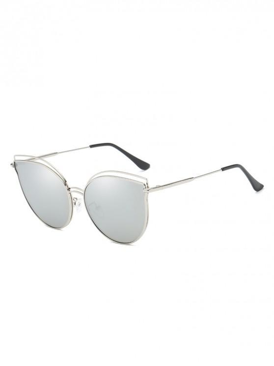 unique Catty Eye Polarized Hollow Sunglasses - SILVER