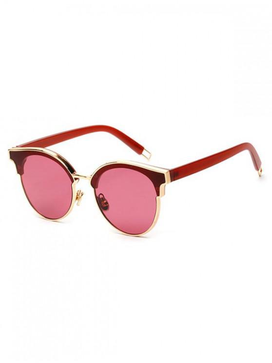 fancy Acrylic Round Stylish Frame Sunglasses - VALENTINE RED