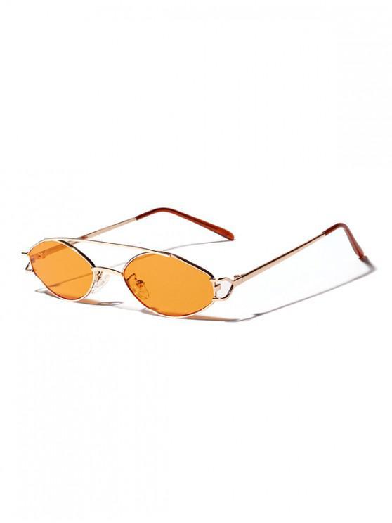 unique Irregular Narrow Bar Retro Sunglasses - TIGER ORANGE