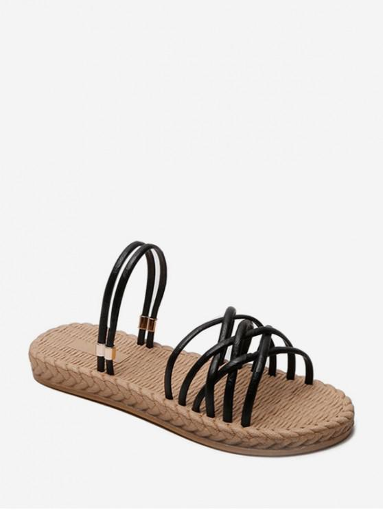 online Flat Heel Woven Hollowed Out Simple Sandals - BLACK EU 40