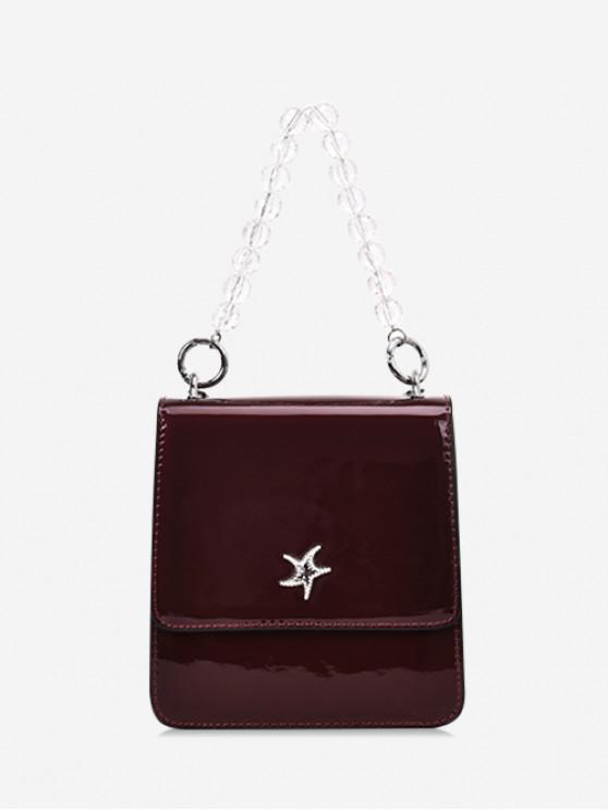 fancy Seastar Decorated Square Beads Handle Handbag - RED WINE