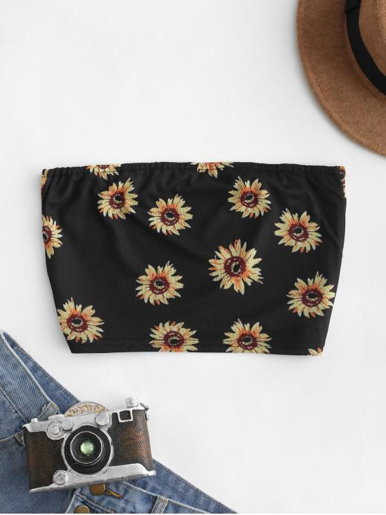 womens Sunflower Print Bandeau Top - BLACK S
