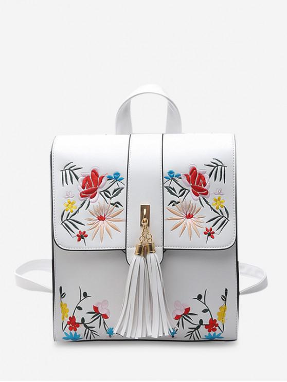 buy Floral Embroidery Fringe Decor Backpack - WHITE