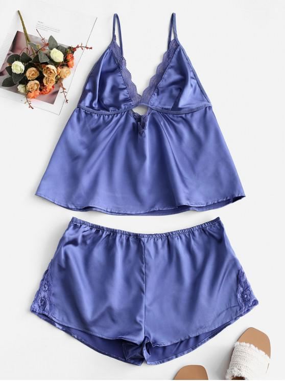 chic Lace Insert Satin Keyhole Pajama Shorts Set - OCEAN BLUE S