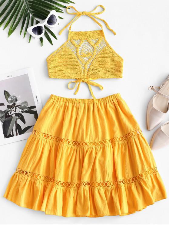 chic ZAFUL Crochet Halter Top and Mini Flounce Skirt Set - YELLOW M