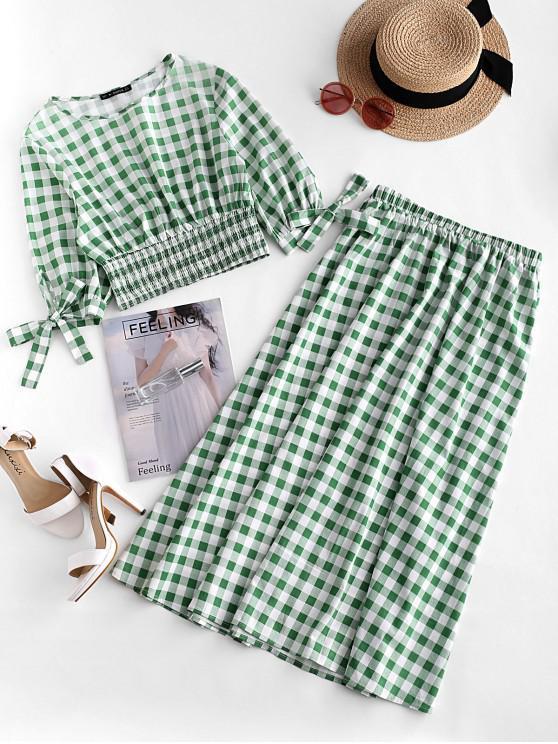 sale ZAFUL Plaid Smocked Tie Cuffs Midi Skirt Set - MULTI M