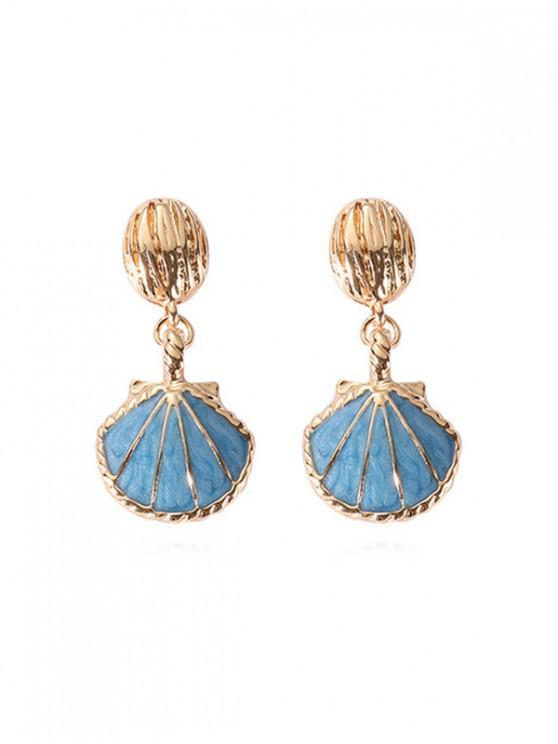 buy Sea Style Shell Shape Retro Dangle Earrings - BABY BLUE