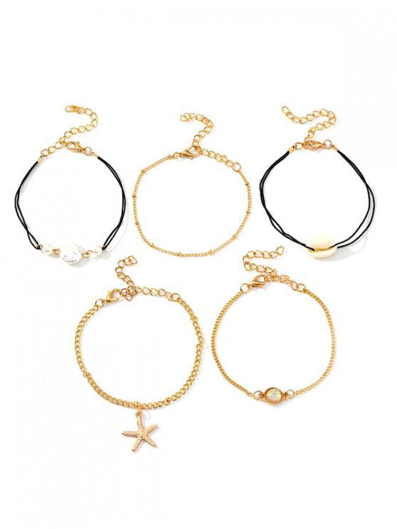 Ensemble de Bracelet Etoile de Mer Coquille 5 Pièces - Or
