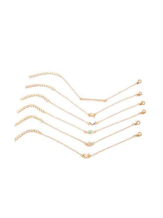 6pcs papillon bracelet floral ensemble - Or