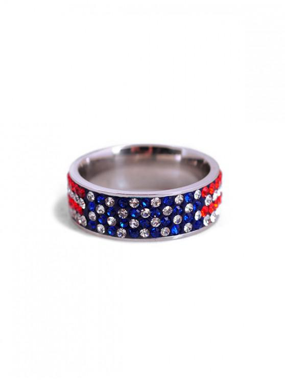 latest Rhinestone Design American Flag Finger Ring - MULTI US 9