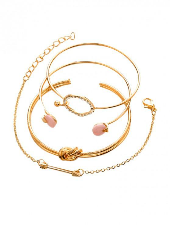 fancy 4Pcs Arrow Knot Circle Bracelet Set - GOLD