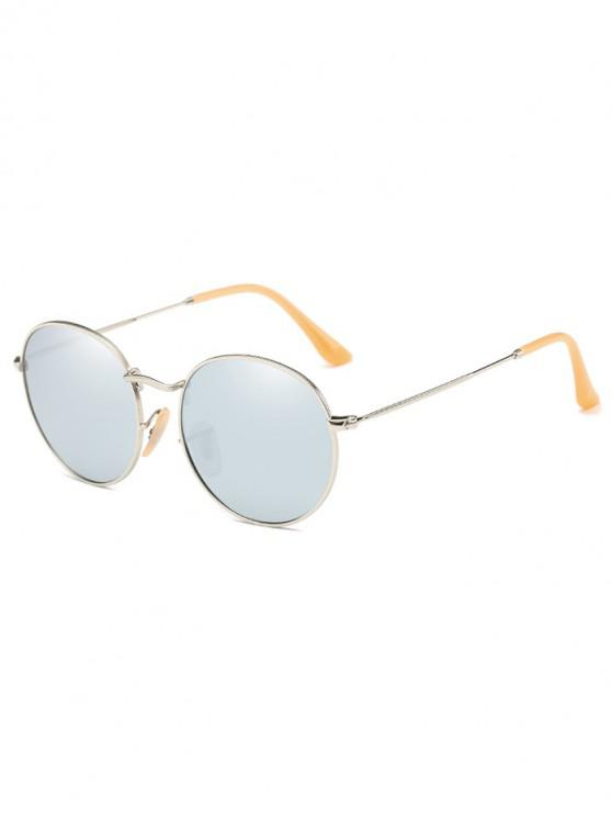 ladies Retro Metal Round Polarized Sunglasses - SILVER