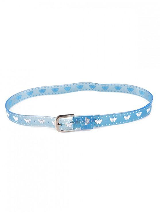 lady Butterfly Transparent Neon PVC Belt - BLUE