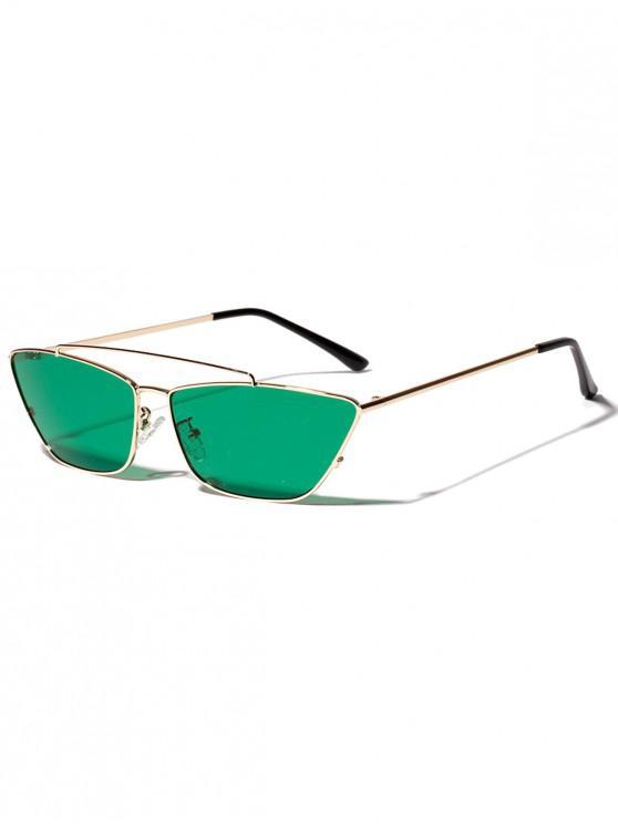 new Trapezoid Shape Metal Frame Stylish Sunglasses - DEEP GREEN