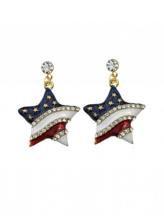 Boucles d'Oreilles Drapeau Américain Etoile avec Strass - Bleu