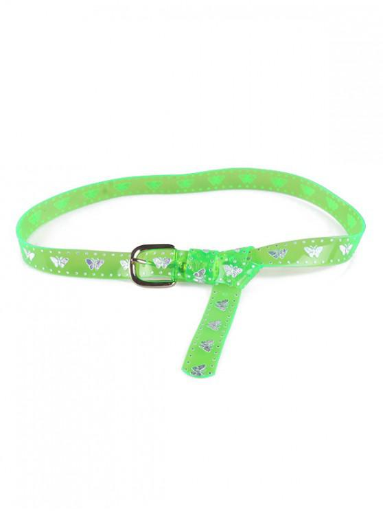fashion Butterfly Transparent Neon PVC Belt - GREEN