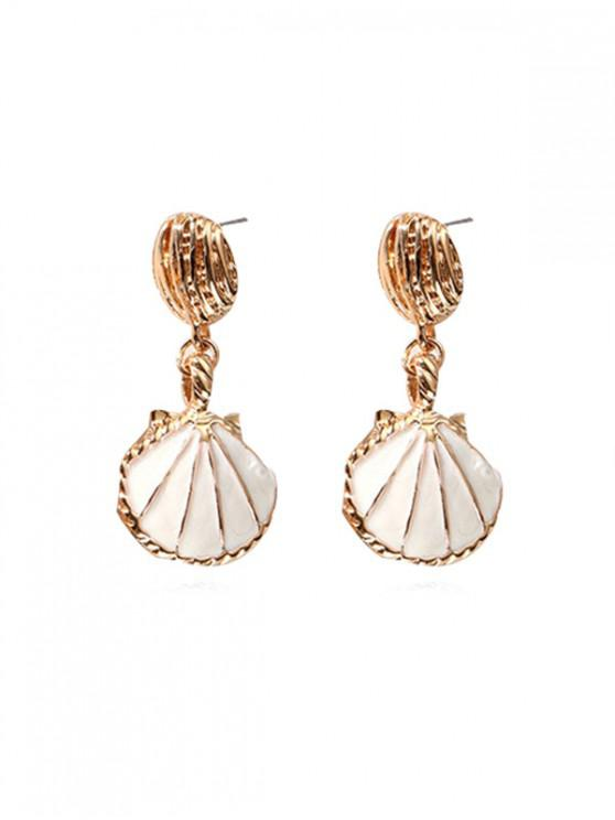 fancy Sea Style Shell Shape Retro Dangle Earrings - WHITE