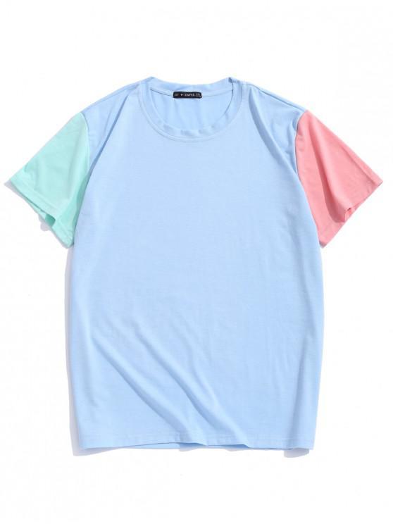 lady ZAFUL Paneled Color Block Short Sleeves T-shirt - DAY SKY BLUE XL