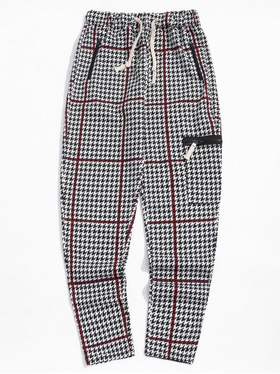 Pantalones deportivos de rayas con estampado geométrico - Rojo Lava 3XL