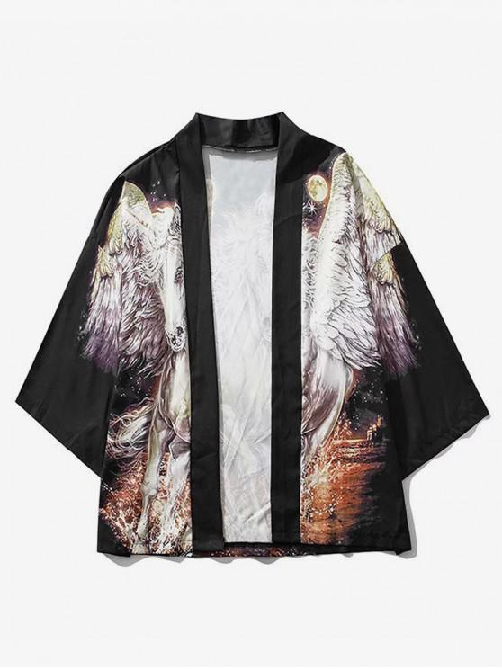 قميص كيمونو مفتوح بطبعة يونيكورن - أسود M