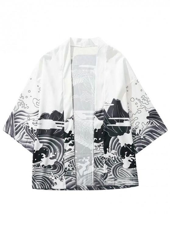 unique Dragon and Wave Print Collarless Kimono Cardigan - WHITE L